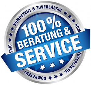 "Button Banner ""100% Beratung & Service"" blau/silber"
