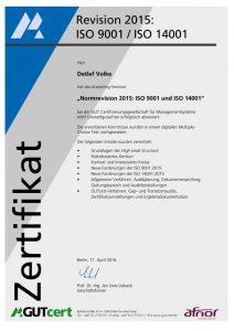 Zertifikat Detlef Volke