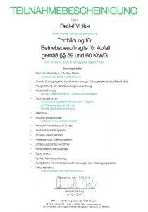 Teilnahmebescheinigung Detlef Volke